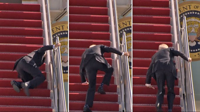 Watch the moment US President Joe Biden fell while climbing stairs