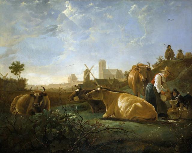 Альберт Кёйп - Вид на Дордрехт с дояркой, пастухами и коровами. ок1650