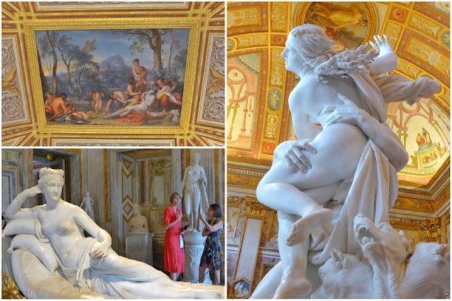 Techo decorado en la Galleria Borghese de Roma – Paolina Borghese de Antonio Canova - Rapto de Proserpina de Bernini