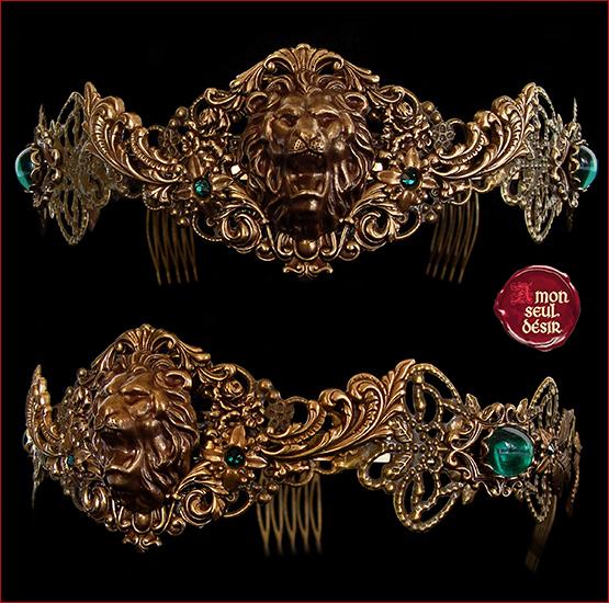 couronne medievale renaissance lion bronze vert emeraude reine moyen age cosplay