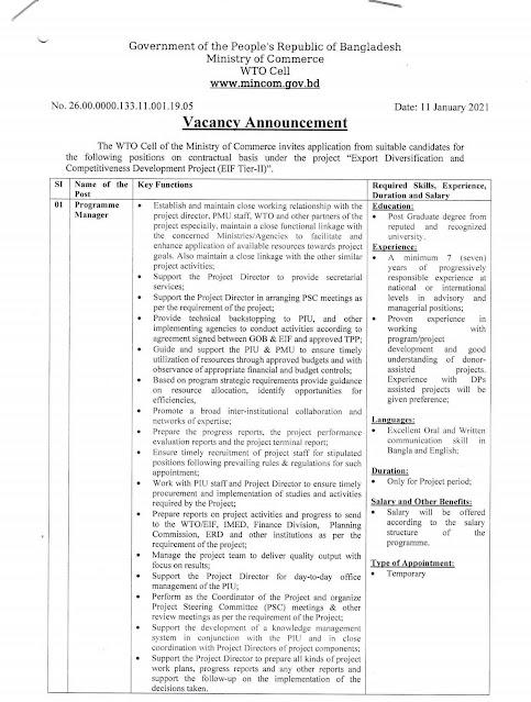Ministry of Commerce Mincom Job Circular 2021