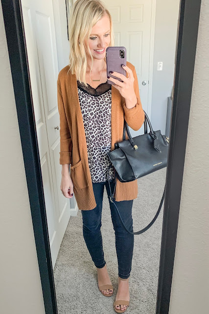 Early fall outfit | Leopard cami with cardigan