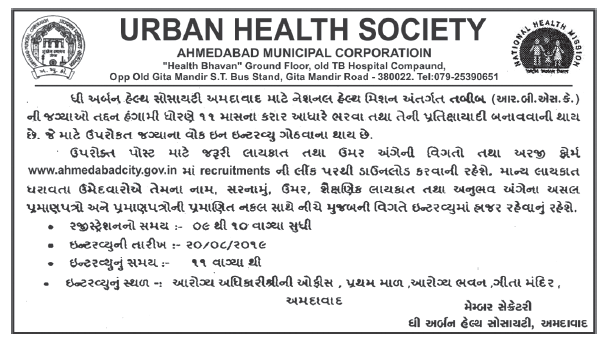 UHS Ahmedabad Recruitment For Medical Officer Post 2019