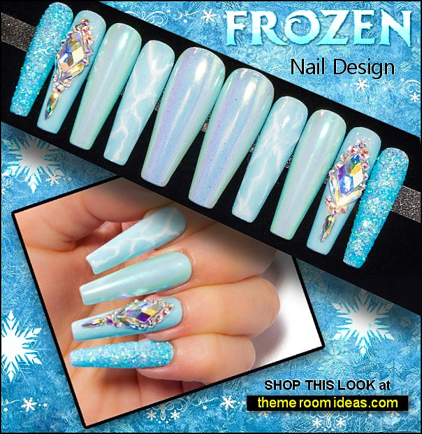 Elsa inspired nail decorations frozen Ice Queen Crystal Nails - False Nails  party nails wedding nails