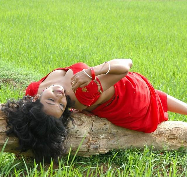 Actress Teertha in Red Saree Hot Photo
