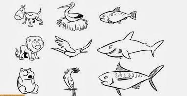 Dibujos De Animales Acuaticos Terrestres Y Aereos Para Colorear