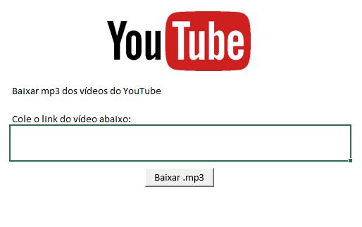 Planilha baixar música MP3 do YouTube (Spreadsheet