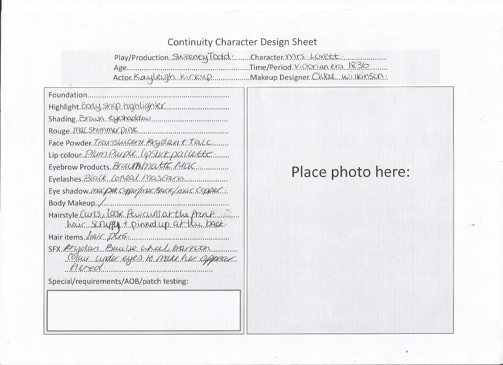 Chloe Wilkinson Make Up Artist Charatcer Design Sheet