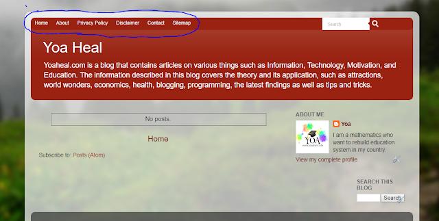 menambah menu di atas header blogger