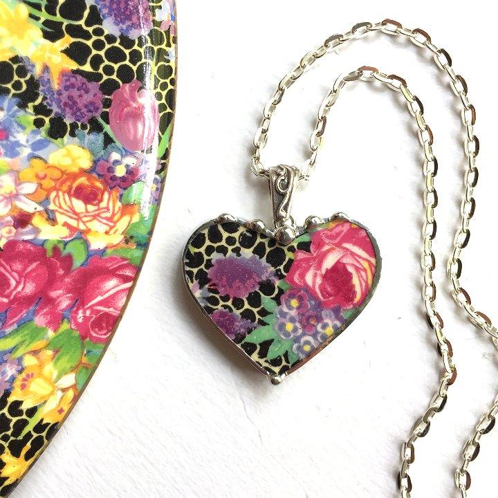hazel chintz broken china jewelry heart pendant