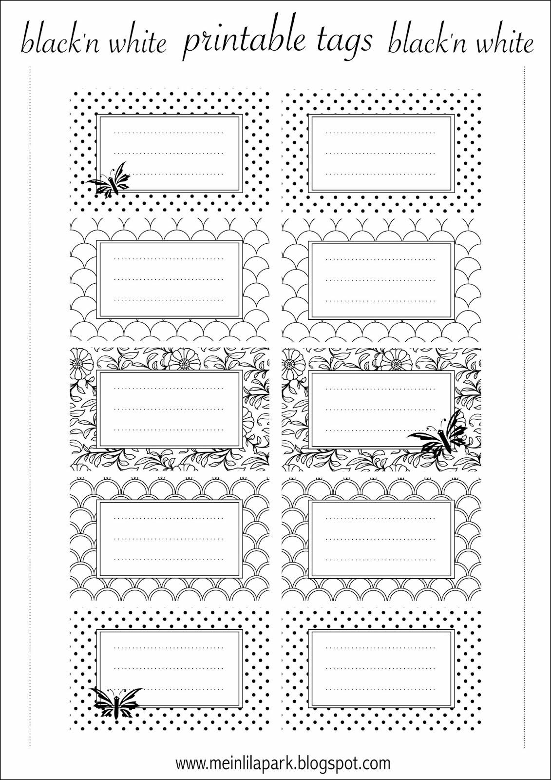 Free printable tags black and white - ausdruckbare ...