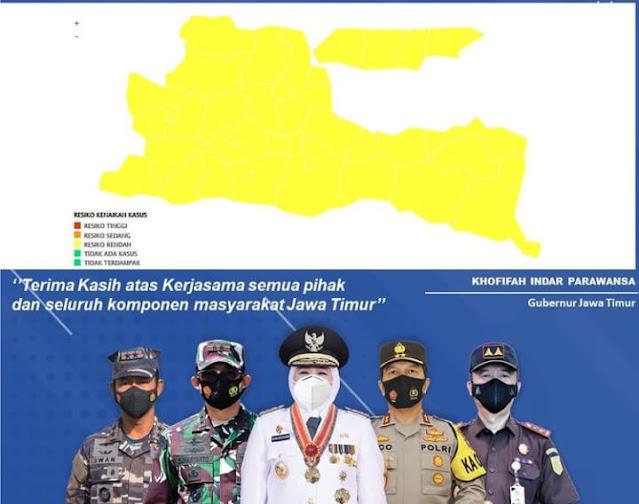 Yes,  Jawa Timur 100 persen Zona Kuning Covid 19