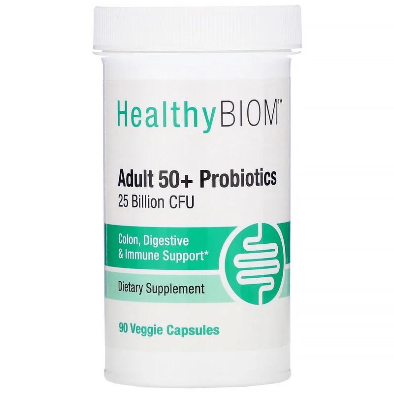 HealthyBiom, Пробиотики для людей старше 50 лет, 25 млрд КОЕ, 90 растительных капсул