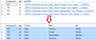 Select or Read XML Column Data from table in sql server