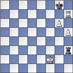 Estudio artístico de ajedrez de Genrikh Kasparian, Shakhmaty v SSSR , 1946 (posición después de 6. Rf2)