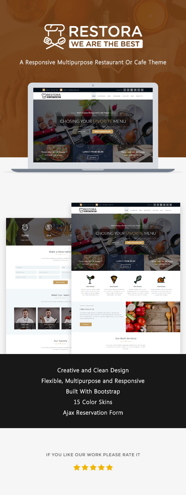 Restaurant, Cafeteria and Bistro Responsive Template - Restora Multipurpose