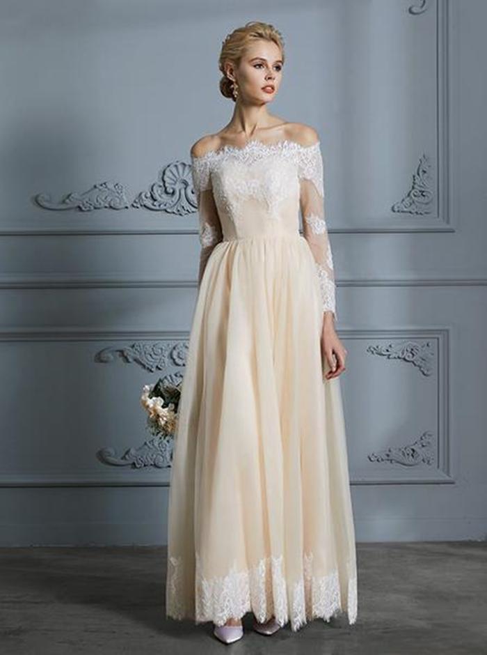 https://www.wishingdress.com/collections/boho-wedding-dresses/products/vintage-wedding-dress-boho-bridal-dress-with-sleeves-off-the-shoulder-wedding-dress-wd00298?variant=11091691962412