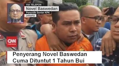 Penyerang Novel Dituntut 1 Tahun Penjara, Warganet Geram: Bikin Cacat Cuma Setahun
