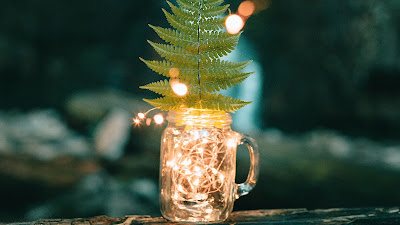 HD wallpaper lights in glass jar