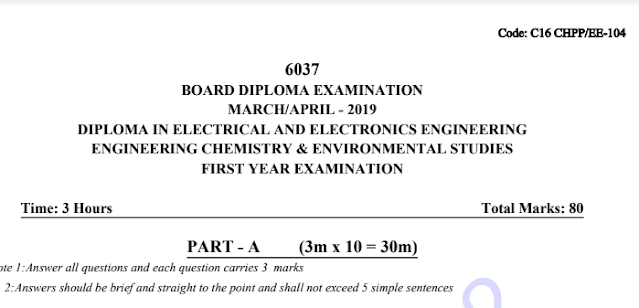 Diploma Engineering chemistry old question papers c16 eee march-april 2019 | manaresults