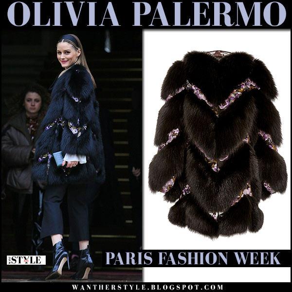 Olivia Palermo in black fur chevron coat, black pants and black ankle boots at Giambattista Valli paris fashion week front row outfits 2017