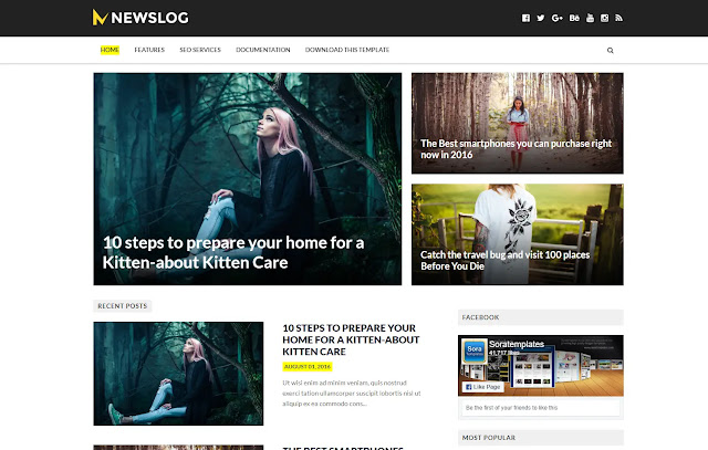 Newslog Responsive Magazine Personal Blog Tutorial Tips and Tricks Blogger Template Theme