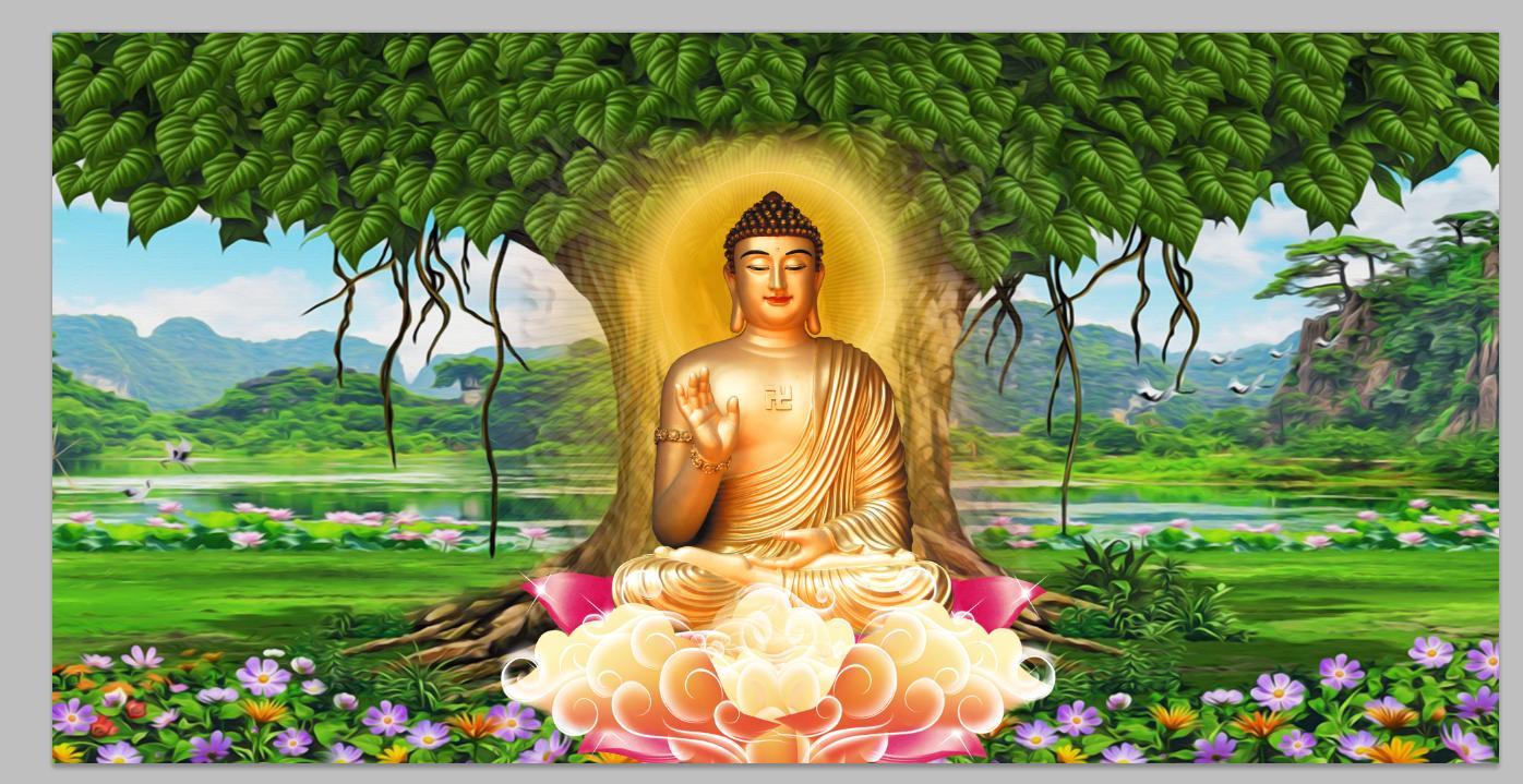 Tranh Dán Tường 3D Cây Bồ Đề Thờ Phật