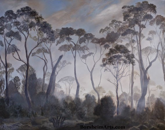 Tasmania landscape painting trees clouds fog oil original art