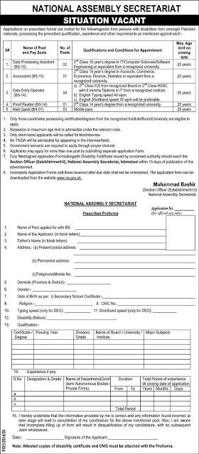 National Assembly Secretariat Jobs 2020 in Pakistan
