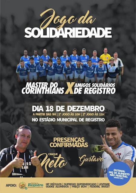 JOGO DA SOLIDARIEDADE RECEBERÁ O MASTER DO CORINTHIANS EM REGISTRO-SP