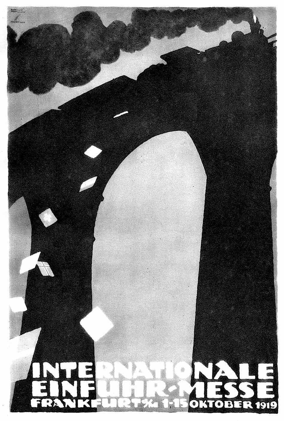 a 1919 Ludwig Hohlwein poster in silhouette, International Einfuhr-Mess Frankfurt