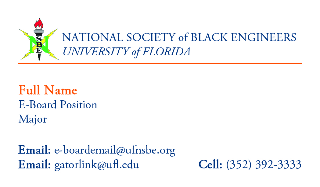 BUSINESS CARD TEMPLATE | NSBE Publications 2011-2012