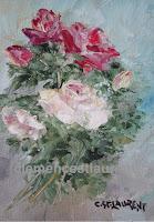 Mon bouquet, gerbe de roses blanches et rouges, huile 5 x 4 - par Clémence St-Laurent