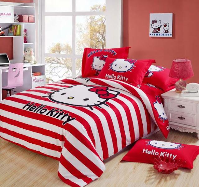 Gambar Kamar Tidur Hello Kitty Merah Bad Cover Lucu