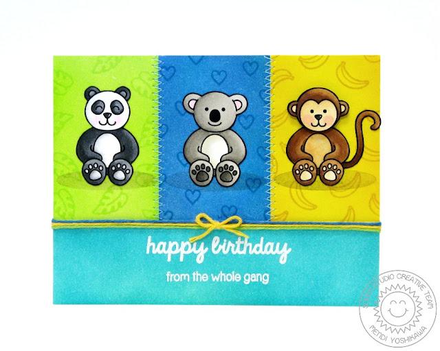 Sunny Studio: Happy Birthday From the Gang Monkey, Koala Bear & Panda card by Mendi Yoshikawa (using Comfy Creatures stamps)