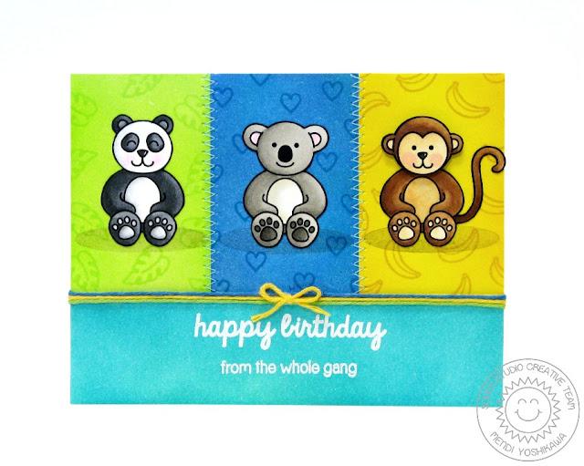Sunny Studio: Happy Birthday From the Gang Monkey, Koala Bear & Panda card by Mendi Yoshikawa (using Comfy Creatures stamps)