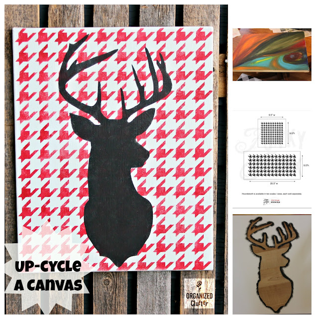 Up-Cycle A Garage Sale Art Canvas As Christmas Decor #oldsignstencils #stencil #houndstooth #Christmasdeer