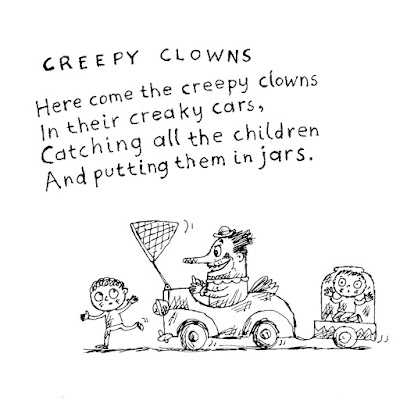 A creepy clown tries to catch a child