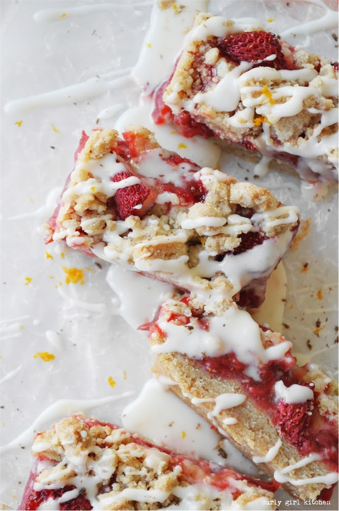 Strawberry Crumb Bars, Brown Butter Crumble, Small Batch Cookie Bars, Strawberry Bars with Orange Icing, Strawberry Recipes