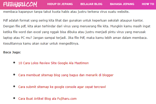 Cara membuat internal link dan external link di blogger