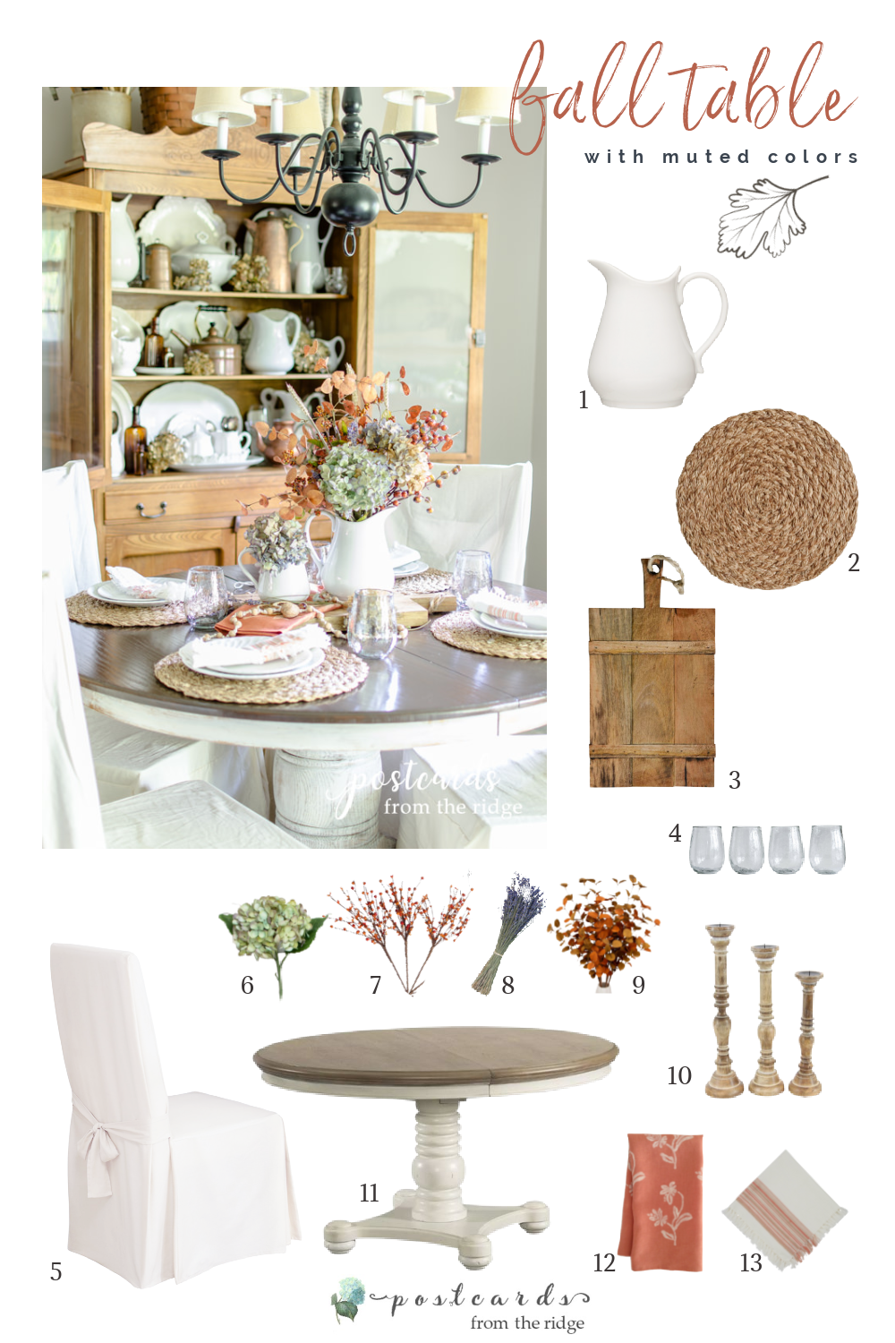 fall table with muted colors and subtle textures