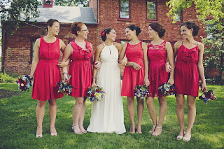 bridal party mix and match bridesmaids