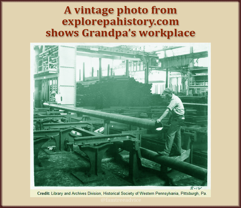 A search for the place where Grandpa worked delivered photos of the factory floor.