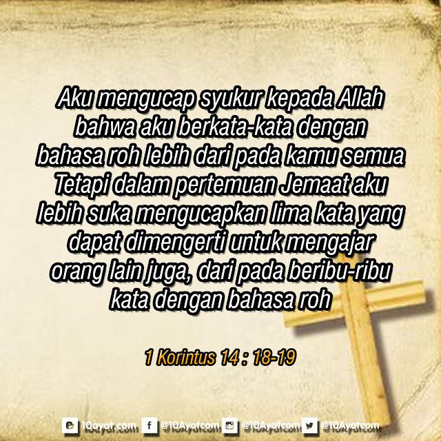 1 Korintus 14 : 18-19
