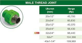 Harga Male Thread Joint Pipa Ppr Rucika Kelen Green