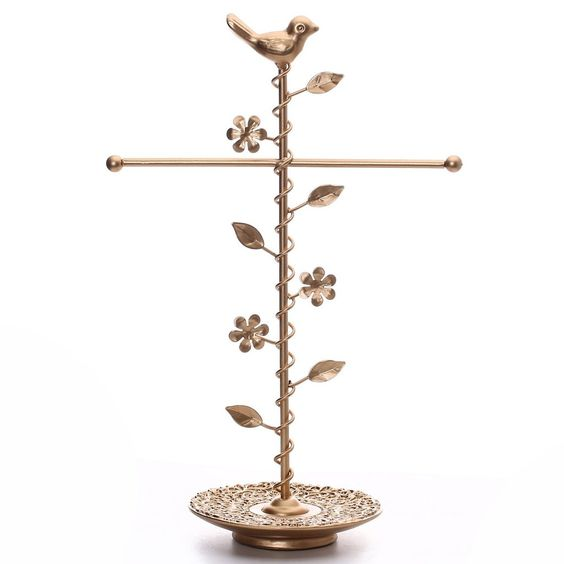 #COP3700 Gold Color T-bar Jewelry Stand Organizer
