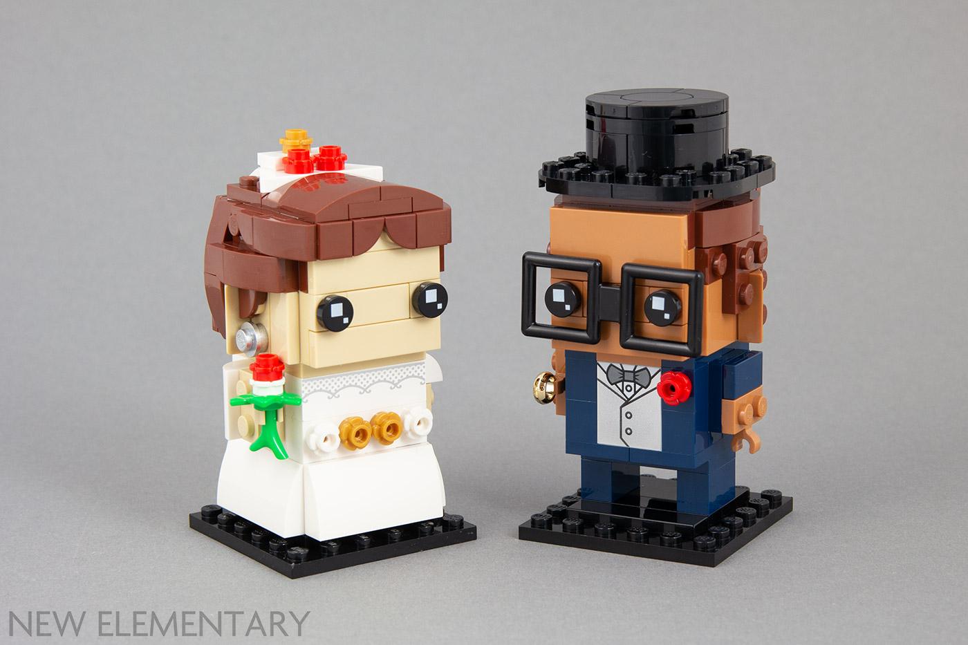 Lego Flesh Wedding Minifigure Figure Bride Brown Hair /& Groom Top Hat /& Tails