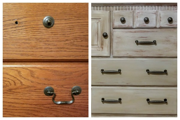 weathered wood oak dresser before and after