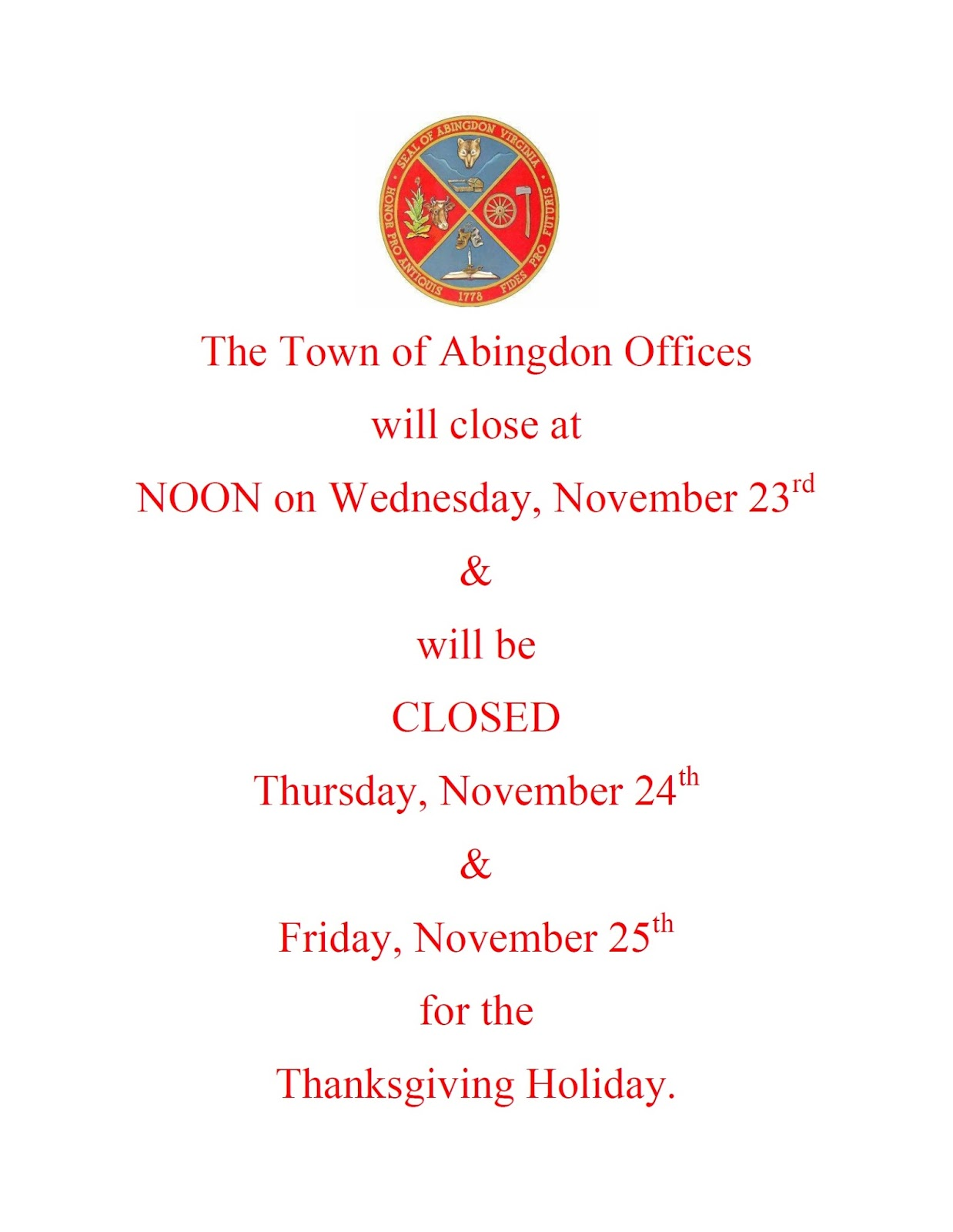 Town of Abingdon, Virginia : NOTICE: Offices CLOSED for Thanksgiving
