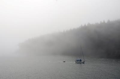 boat in fog orcas island